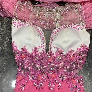 Pink and White Beaded and See Through Prom Dress